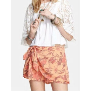 Free People Sarong Shorts Size L Tangerine Floral